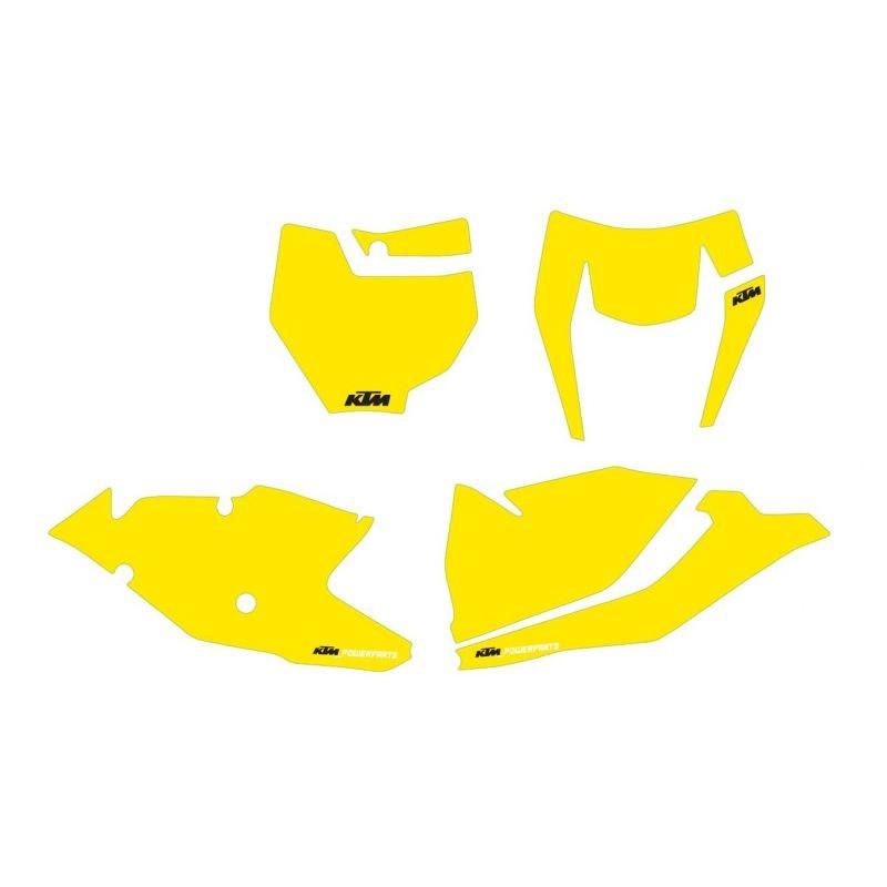Kit autocollants de fond de plaque JAUNE pour KTM SX/SX-F (16-18) et EXC/EXC-F (17-19)