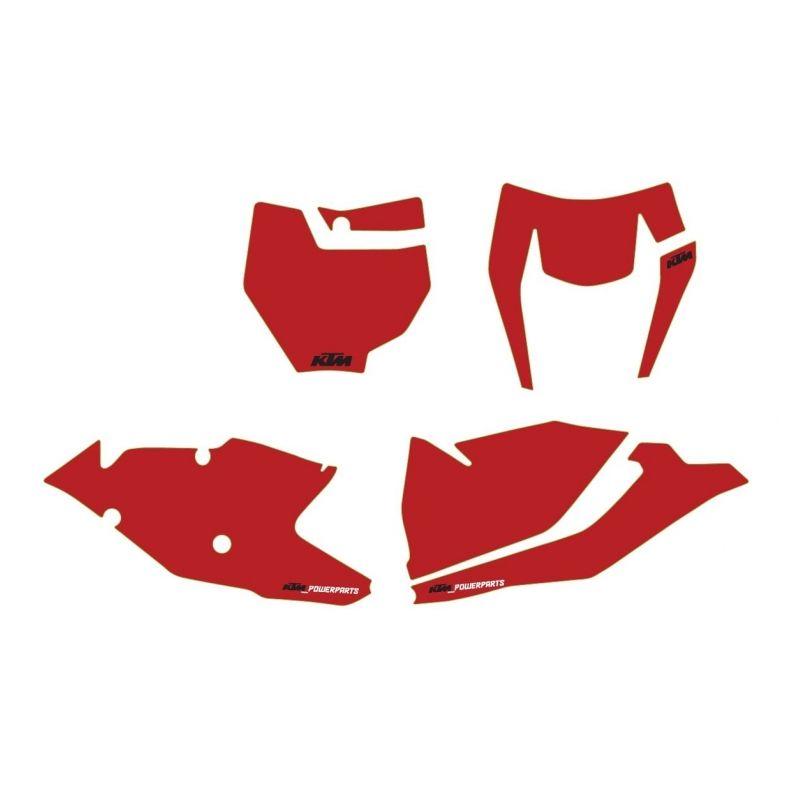 Kit autocollants de fond de plaque ROUGE pour KTM SX/SX-F (16-18) et EXC/EXC-F (17-19)