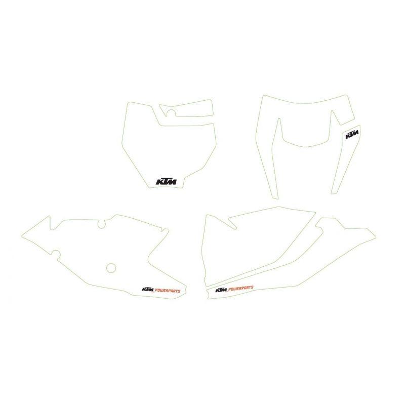 Kit autocollants de fond de plaque BLANC pour KTM SX/SX-F (16-18) et EXC/EXC-F (17-19)